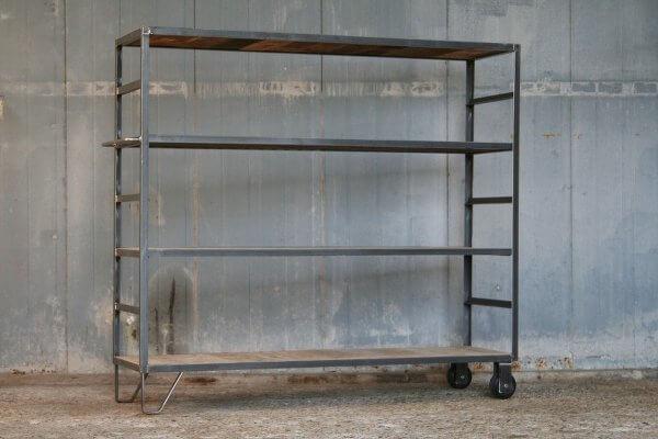 industriele boekenkast roomdivider op potenwielen beugel 115 x 140 x 40 cm