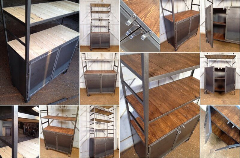 Weinbergwoodworks industriele stalen kasten - Boekenkast hout en ijzer ...